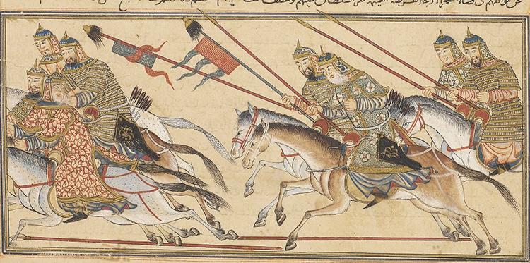 Рис.9 Татаро-монгольские воины с флагами. Персидская миниатюра XIV в.
