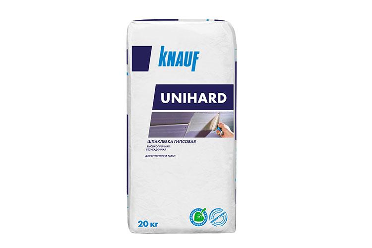 КНАУФ-Унихард одинаково хорошо подходит, как для сплошного шпаклевания, так идля точечного исправления дефектов набетоне, цементе или гипсе