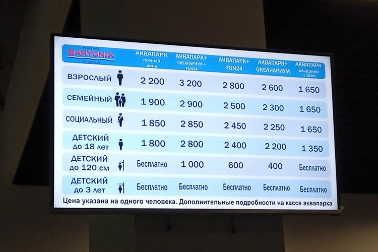 Цены в аквапаркеBaryonix