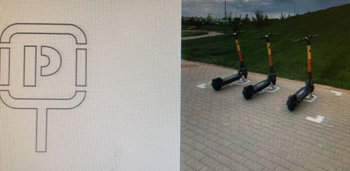 Наул.Сибгата Хакима введена экспериментальная разметка, обозначающая место «парковки» электросамокатов