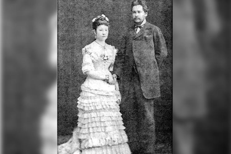 Свадебный снимок Хадичи и Шахбаз-Гирея Ахмеровых. 1878 год.