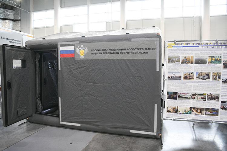Особо Куклев обратил внимание напневмокаркасную лабораторию Роспотребнадзора, снаружи напоминающую серую надувную палатку