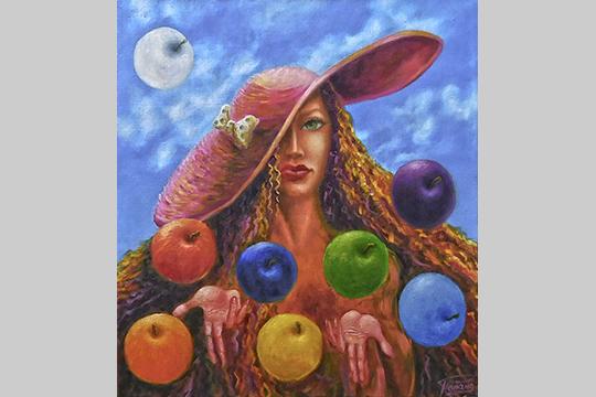 «Картина «Выбирай свой путь»— явложил внее свой смысл— яблоко, как символ начала жизни наземле; Ева (женщина)— как непосредственный инициатор той жизни; Разноцветность яблок — как символ того, что есть множество вариантов (путей)»