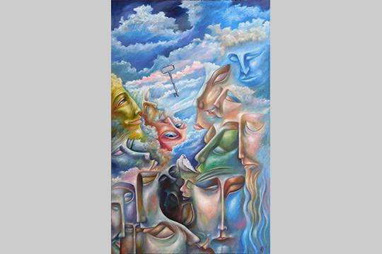 «Картина «Ключ»— ключ— предмет, который открывает двери, новтоже время ключ— это загадка. Чтотам? Лица, словно, рожденные облаками повернуты кключу. Каждый хочет понять иразгадать, что открывает этот ключ»