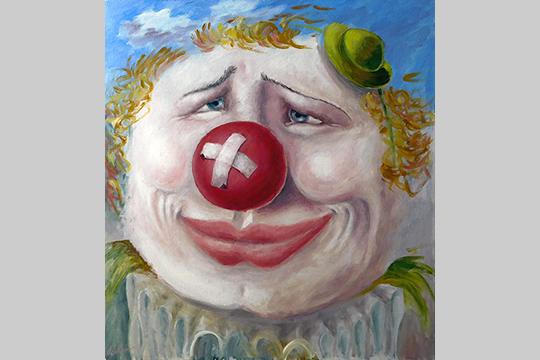 «Все-таки живопись визуальна— впервую очередь для глаз, виденья. Иногда просто интересный образ, неизвестно откуда пришедший. Например, картина «Уличный клоун»»