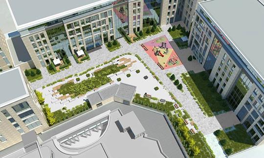Объект будет представлять изсебя 5-6-этажное здание П-образной формы свнутренним двориком