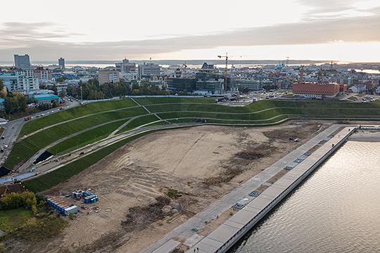 Планируется, чтопарк уНКЦ «Казань»станет продолжением системы набережных Казанки— стеррасированными уступами,ведущими кскверу Фукса