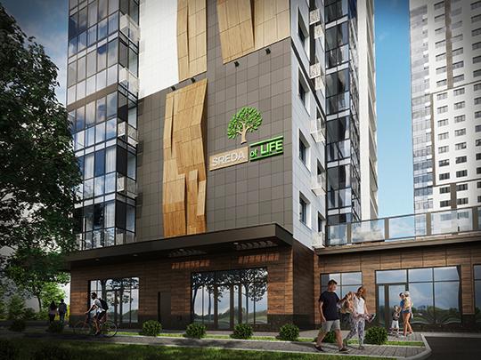 ЖК«SREDA ofLIFE» – это неболее 5 квартир наэтаже, бесшумные лифты, теплые керамические стены, эко-стиль изащита покупателя до10млн рублей отфедерального банка