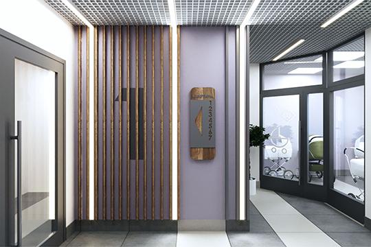 Входные группы будут оформлены вяркихисветлыхтонах, холлы будут иметь дизайнерскую отделку. Напервом этаже— общие колясочные, где можно будетхранить ивелосипеды