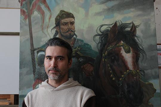 Булат Гильванов:«Через свои картины яхочу дать почувствовать людям, что является ихнастоящим. Стилистически картины очень разные, порой даже можно подумать, что противоположны посмыслу»