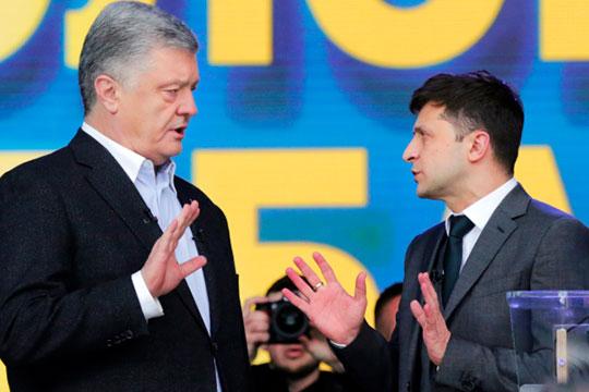 Согласно официально опубликованной информации, за Зеленского (справа) отдали свои голоса 73,18% избирателей, а за действующего президента Петра Порошенко (слева) — только 24,49%