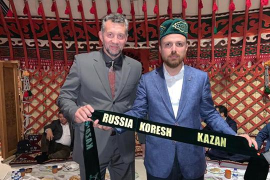 Равиль Ногуманов и Билал Эрдоган. «Вообще Турция развивает отношения стюркоязычными странами помногим направлениям. Одно изнаправлений— спорт— ведёт сын президента Билал Эрдоган»