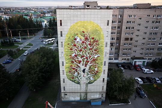 Hitnes создал мурал с иллюстрацией татарской сказки «Зухра» и интерпретацию первой альметьевской яблони