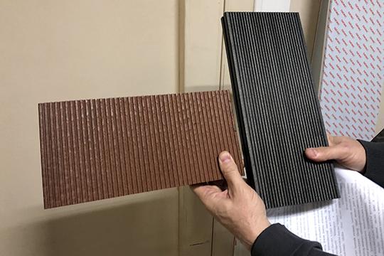Эдуард Курчатов в доказательство того, что установка работает принес в суд три сделанные на ней продукта. Один из них — та самая нанодоска (слева) или «профильно-погонажное изделие с нанодобавками»