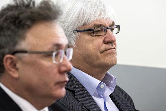 Андрей Григорьев (справа), председатель совета директоров ТК «Эфир», спустился на 3 позиции вниз, 33 место. Ильшат Аминов (слева), гендиректор ОАО «Телерадиокомпания «Новый век» — на две, с 77-го на 79 место