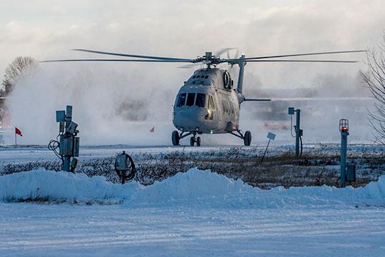 Эффектно, воблаках снежной пыли отвинтов, предстал сегодня перед созванными наКВЗ журналистами новенький Ми-38