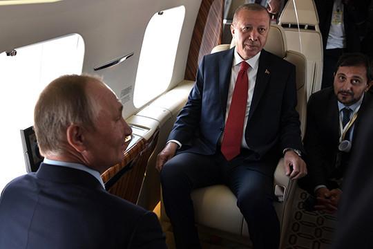 Путин и Эрдоган в салоне люксового Ми-38