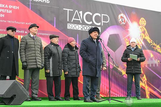 «Это очень серьезный проект», — отметил Курбан Бердыев (слева) на церемонии закладки первого камня манежа в Казани на улице Чуйкова