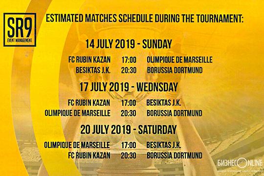 Предварительно 6 матчей турнира планируется провести с14 по20июля 2019 года